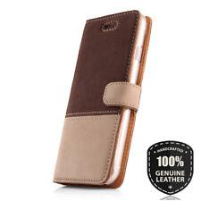 SURAZO® Echtes Leder Handy Hülle Wallet Case Cover Etui für Handy -Braun / Beige