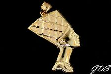 Real Genuine 10K Yellow Gold Egyptian Queen Nefertiti Pendant Charm Piece Piece