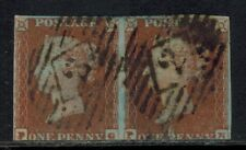 Great Britain #3 1841 1d Red Imperf Pair, PG-PH, VG