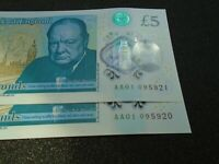 Pair of Polymer Five Pound CHOICE Uncirculated NoteS AA01 0 95921 / 95920