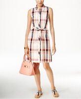 Tommy Hilfiger Shirt Dress Womens Size Medium Plaid Button Down Sleeveless