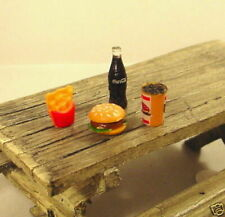 Cheeseburger Fries and Coke Miniatures 4 Pc Set 1/24 Scale G Diorama Accessories