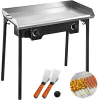 """32""""x17"""" Flat Top Griddle Grill & Propane Fueled 2 Burners Stove Stainless Steel"""
