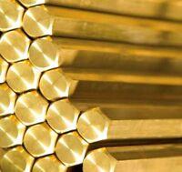 BRASS HEXAGON BAR/ROD - VARIOUS SIZES (3mm - 60mm) AND LENGTHS - MODEL MAKING