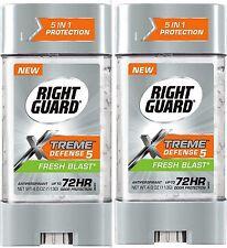 Right Guard Antipers & Deod XTREME Defense 5 FRESH BLAST 4oz Gel ( 2 pack )