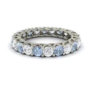 2.64 Carat Diamond Aquamarine Engagement Eternity Band 14K Solid White Gold Ring
