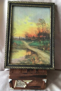 Miniature 1940's Artisan Wall Art Picture Sunset Litho Carved Wood Frame Vintage