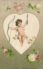 Cupid Holding Bow and Arrow White and Pink Roses Valentines Postcard