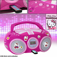 Girl CD Player Stereo Radio MP3 USB AUX-IN Music Pink System Hello Kitty Sticker
