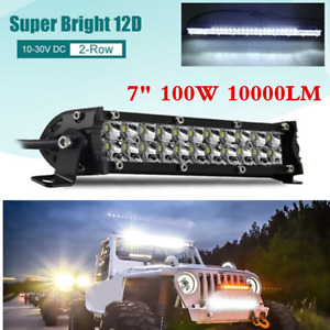 Dual-Row 7Inch 100W Slim LED Work Light Bar Spot Lamp Offroad 4X4WD Truck Car