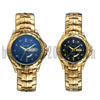 Luxury Rhinestone Dial Calendar Stainless Steel Quartz Wrist Watches Couple Gold