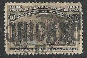 3v0591 Scott 237 US Stamp 1893 10c Columbus Presenting Natives Used
