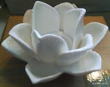 Avon Vintage White Flower Tealight Holder W Glitter Accents New In Box
