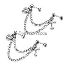 Silver Stainless Steel Heart Cross Double Piercings Chained Earrings