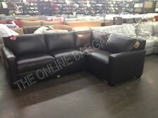 Pottery Barn West Elm Henry Sofa Couch sectional brown leather has cut