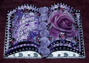 Glückwunschkarte Grußkarte zum Geburtstag Buchkarte Lila Silber 40,45,50,55,60,6