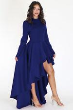 Sexy women long sleeves black runway high low peplum top dress party club dress