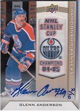 2013-14 Edmonton Oilers Collection Championship Banners Glenn Anderson  Auto #D