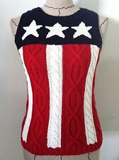 Tommy Hilfiger women sweater star stripe flag cable knit sleeveless size S Petit