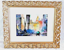 ''Manhattan, NY, near Central Park'' Art Print of  Watercolor, Gold Plated Frame