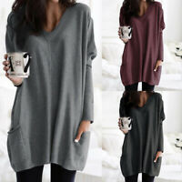 UK Women Long Sleeve Tunic Knitted Top Ladies Solid Jumper Pullover Blouse Plus