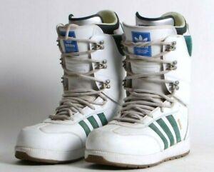 USED MENS ADIDAS LASHED SAMBA ADV SNOWBOARD BOOTS $260 9.5 White/Blue