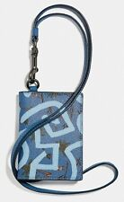 COACH x Keith Haring 'Hula Dance' Coated Canvas ID Case Lanyard Card Holder NWT!