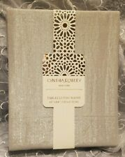 """Cynthia Rowley Tablecloth 60""""x84"""" Gray with Silver Thread Woven in SHIPS FREE"""
