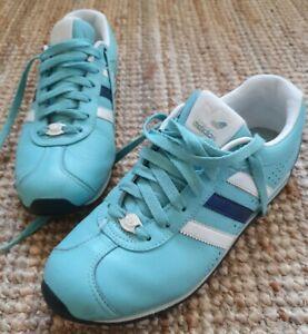 Adidas Samoa Size Light Blue with White & Navy Stripes Size US 7