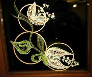 Fensterbild Blüten klöppeln Klöppelbrief