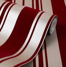 Exclusive Fusion Stripe Velvet Flock Red/Gold Stripe Wallpaper (44008)