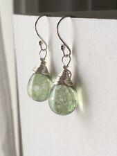 Antique Green Drop Sterling Silver Earrings. Briolette Earrings. Gift For Her