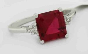 RUBY  2.20 Cts & GENUINE DIAMONDS RING 10K WHITE GOLD  *** New With Tag ***