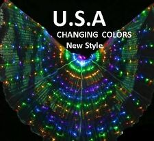 LED Light Isis Wings Belly Dance Costumes 360° Silk Fans USA
