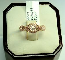 GORGEOUS LEVIAN 14K ROSE GOLD WHITE DIAMOND RING