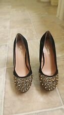 black velvet gold stud wedge womens shoes sz 6/12