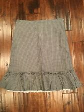 Odille Anthropologie Black Gingham Plaid Drop Waist Skirt, Size 8