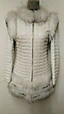 100% real high quality soft lamb leather with white silver  fox fur coat