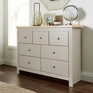 Chest of Drawers Grey Oak 7 Drawer Two Tone Wooden 3+4 Sideboard Chest Seconds
