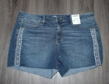 NEW Sonoma Womens Cut Off Embroidered Blue Denim Shorts Sizes 2-16