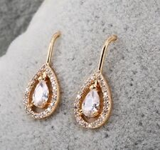Cubic Zirconia 18Ct Yellow Gold Plated French Hook Vintage Classic Earrings