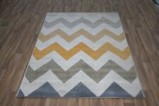 Quality Modern Yellow Beige Grey Zigzag Rug 120cm x 170cm 8mm Pattern Rug! Retro