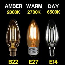 E14 ses B22 BC E27 es 25W 40W LED VELA Bombillas de luz Lámpara Blanco cálido día de ámbar
