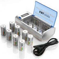EBL LCD NIMH NICD AA AAA C D 9V Charger + 8x C Size Rechargeable NI-CD Battery