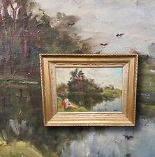 Plain Air Impressionist from France: original old oil painting, Signed Duret