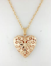 *UK* GOLD PLATED OPEN FILIGREE STAR LOVE HEART PHOTO LOCKET PENDANT NECKLACE 18'