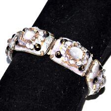 JACQUES TEYSSIER Limoges Bracelet ancien couleur or émaux d'art violet bijou