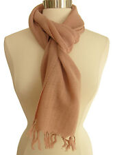 """Anokhi 100% wool scarf: Dirty Pink with fringed edges - 12"""" x 70"""""""