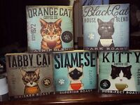 5 CATS RULE ENESCO WALL ART CANVAS PLAQUES  BLACK CAT GINGER KITTY SIAMESE TABBY