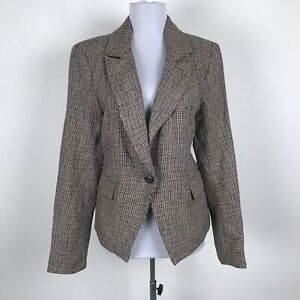 Free People Chess Blazer Size S Brown Black Linen One Button Front Womens Plaid